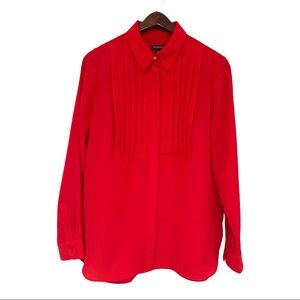 Talbots Vibrant Red Ruffles Long Sleeved Top